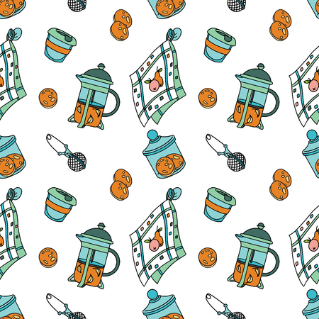Seamless pattern with french-press and cookies. Doodle illustration. Fabric print pattern, stationery and wrapping.