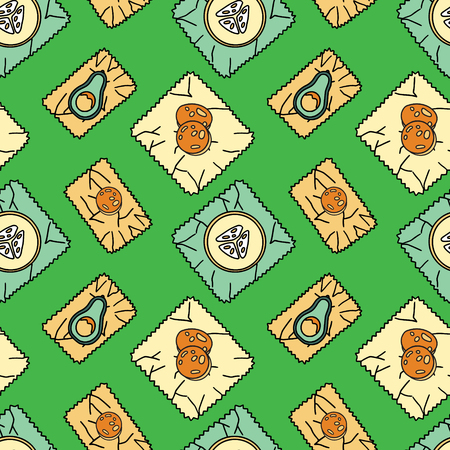 Seamless pattern with bee-wax wrapping and fruit. Stationery and fabric print. Sustainable household and green house symbols. Plastic-free and zero-waste items. Illustration