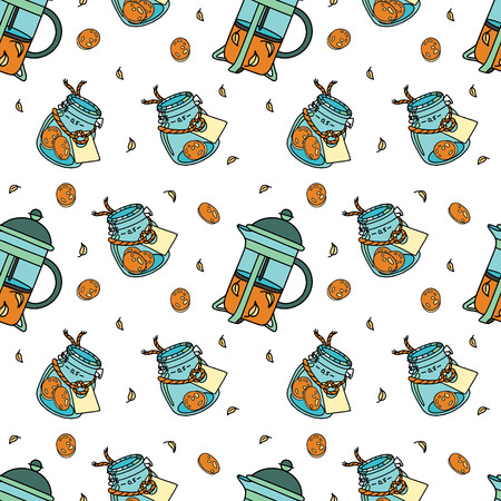 Seamless pattern with french-press and glass-jar with biscuits and label. Doodle illustration. Fabric print pattern, stationery and wrapping.