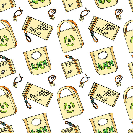 Natural fiber pouches and bags in doodle style. Zero waste concept. Plastic-free household. Eco living. Illustration