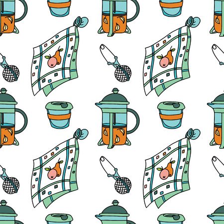 Seamless pattern with french-press, dish towel and tea-cup. Doodle illustration. Fabric print pattern, stationery and wrapping. Stock Vector - 124573618