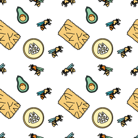 Seamless patterns with bees, bee-wax wrapping and fruit. Stationery and fabric print pattern.