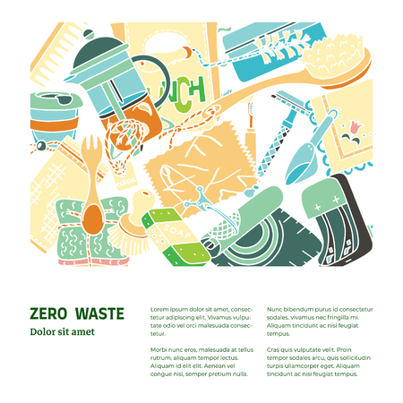Zero waste illustration with text. Sustainable beauty, kitchen and household items. Ecohome.
