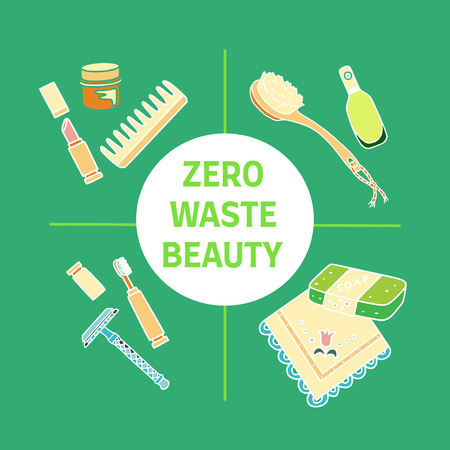 Zero waste beauty text. Doodle illustration. Eco living and sustainable household. Illustration