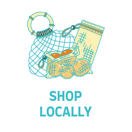 Shop Locally text with different bags. Zero waste living. Sustainable household. Plastic free living. Refuse plastic bags.