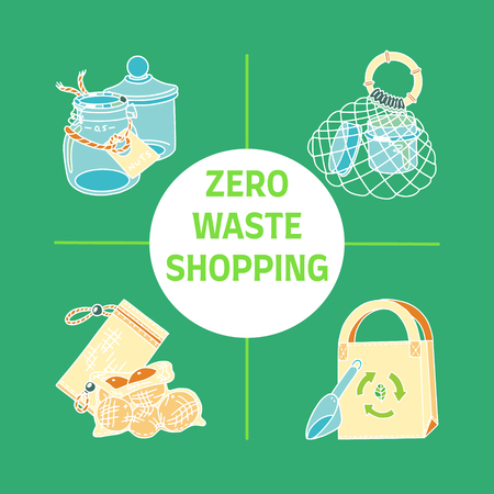Zero waste shopping text with pictures of storage and shopping items such as bags, pouches, glass jars. Sustainable household. Plastic-free living. Ilustração