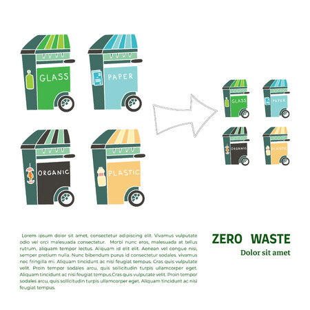Four garbage containers for organics, plastic, glass and paper. Sustainable household and zero waste ecohouse. Doodle illustration with text. Concept of reducing of garbage volume.