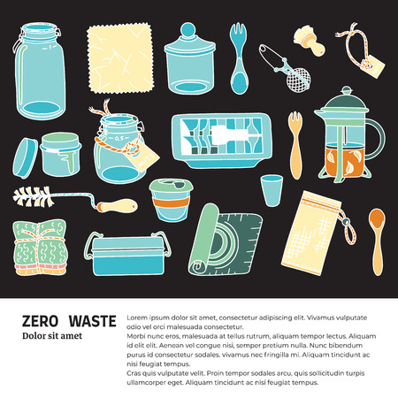 Zero waste doodle with text. Sustainable household and ecoliving concept. Articles about ecology, zero waste and green life-style. Stock Vector - 124573637