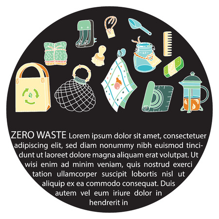 Zero waste doodle with text. Sustainable household and ecoliving concept. Articles about ecology, zero waste and green life-style. Stock Vector - 124573638