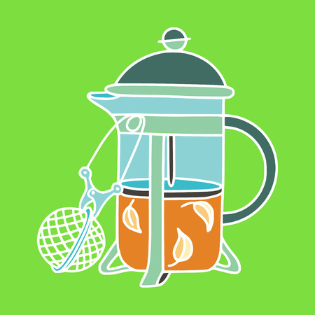 French-press tea-pot with a tea-infuser. Zero waste home and sustainable household. Stock Vector - 124573648