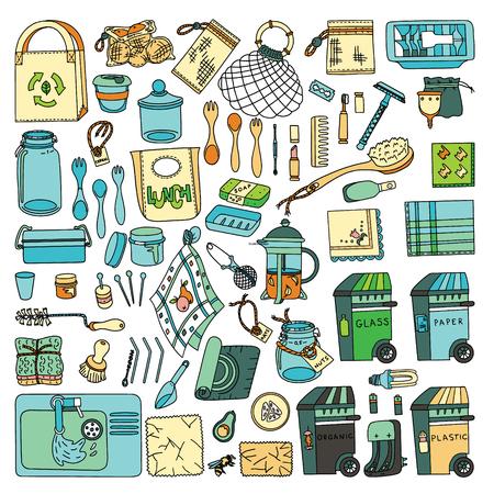 Zero waste doodle set. Kitchen, beauty, home and shopping. Ecoliving. Sustainable houshold. Illustration