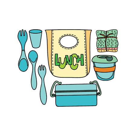 Doodle picture with zero-waste and plastic-free items for kitchen, coocking and lunch. Sustainable household. Stock Vector - 121875298