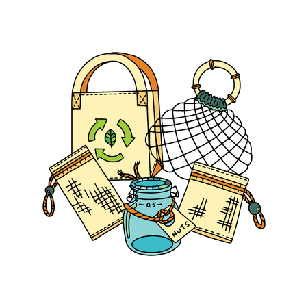 Zero waste storage and shopping. Natural materials for bags, pouches, wrapping and hankies. Sustainable household. Buying in bulk. Plastic-free waste. Illustration