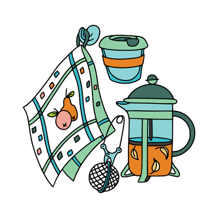 French-press, tea infuser and dish towel. Doodle illustration. Fabric print pattern, stationery and wrapping.