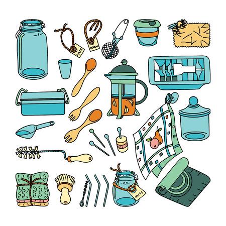 Zero waste doodle set. Kitchen, home and shopping. Ecoliving. Sustainable houshold.