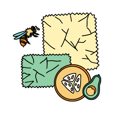 Beeswax wrap illustration with bees and fruit . Zero waste products. Plastic free kitchen.