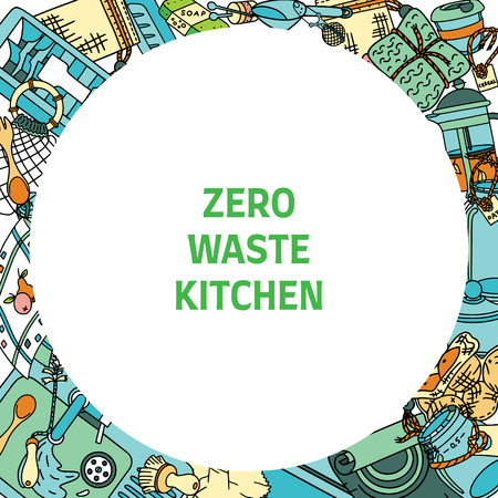 Zero waste kitchen slogan in a round frame with doodle pictures of zero waste products and items. Sustainable household and green house.