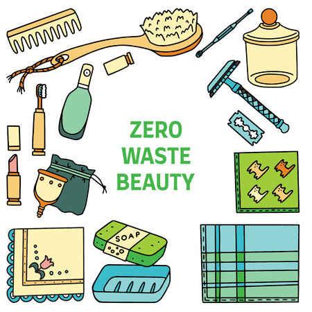 Zero Waste Beauty text with sustainable living items. Ecohome.