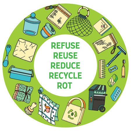 Zero waste doodle. Refuse Reduce Reuse Recycle Rot text. Items from ecoliving and sustainable household.