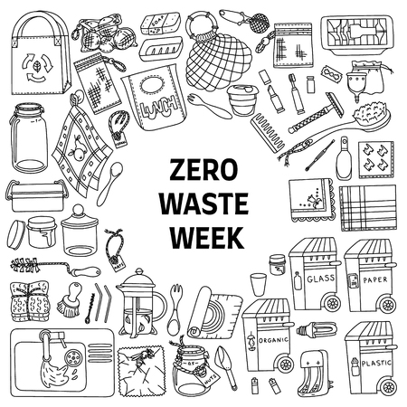 Zero waste doodle set with text Zero Waste Week. Kitchen, beauty, home and shopping. Ecoliving. Sustainable houshold.