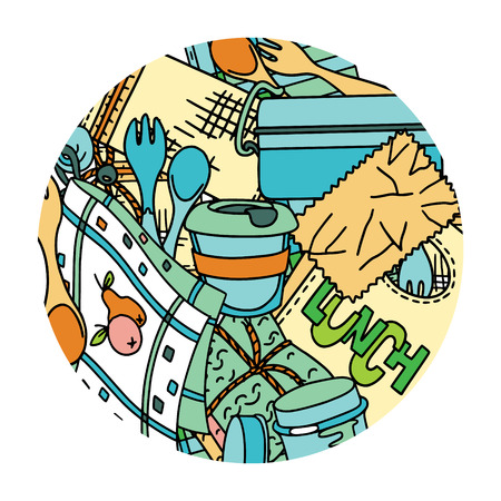 Zero waste kitchen items and accessories. Doodle illustration in a round frame.