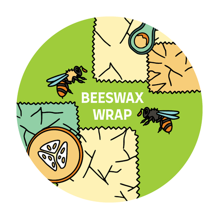 Beeswax wrap illustration with bees and fruit with text. Zero waste products. Plastic free kitchen.