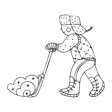 A man clearing the snow with a pusher. Fine for ice and snow removal services promotion, articles abot de-icing equipment and snow clearing work. Ilustração