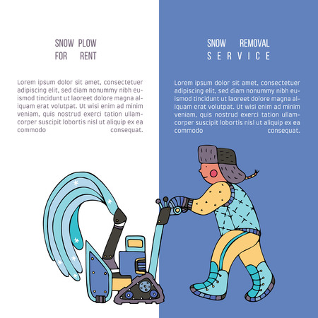A man clearing the snow with a blower. Brochure Snow plow for rent. Fine for ice and snow removal services promotion, articles abot de-icing equipment and snow clearing work. Illustration