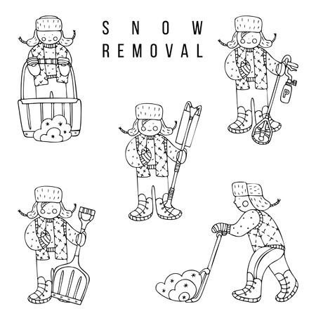 A set of figures working with snow-removal equipment. Fine for ice and snow removal services promotion, articles abot de-icing equipment and snow clearing work. Imagens - 121875266