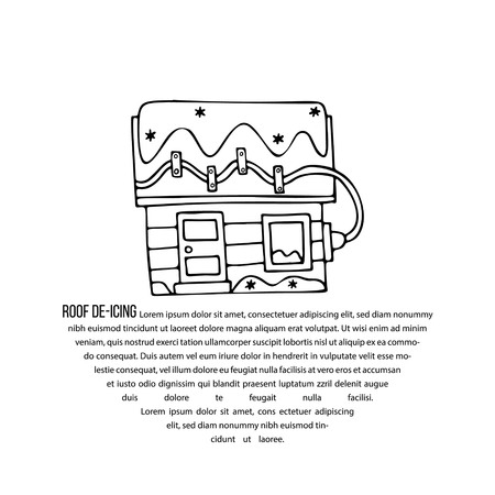 Afbeelding van elektrische apparatuur voor het ontdooien van het dak met tekst. Boete voor promotie van ijs- en sneeuwruimdiensten, artikelen over ontdooiapparatuur en sneeuwruimwerkzaamheden.