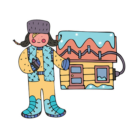 A man near the house with electrical roof de-icing. Fine for ice and snow removal services promotion, articles abot de-icing equipment and snow clearing work.
