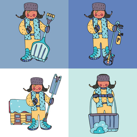 Figures of men with shovels, roof rake and de-icing torch. Fine for ice and snow removal services promotion, articles abot de-icing equipment and snow clearing work.