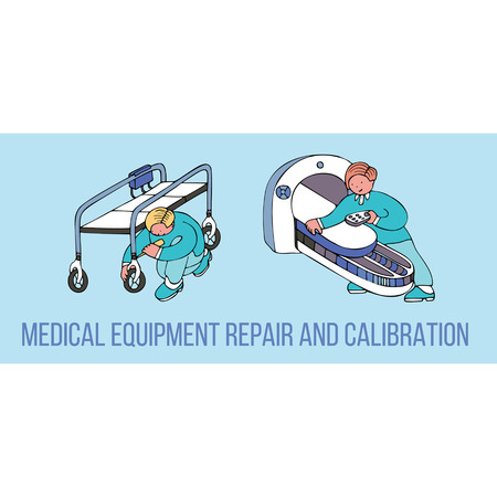 Medical equipment repair and calibration banner with text. Fine for medical services promo brochures, sites offering medical equipment repair, calibration, installation and maintenance. Vectores
