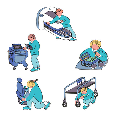 Set of pictures with engineers repairing medical equipment and devices. Fine for medical services promo brochures, sites offering medical equipment repair, calibration, installation and maintenance.