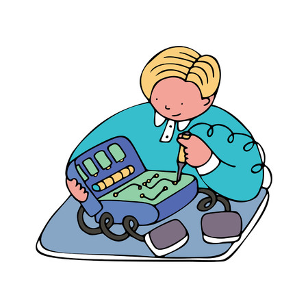 An engineer repairing medical equipment. Fine for medical services promo brochures, sites offering medical equipment repair, calibration, installation and maintenance.
