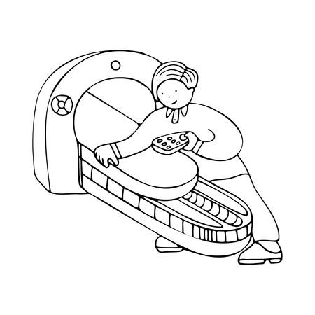 Un ingeniero que repara equipos médicos. Multa por folletos de promoción de servicios médicos, sitios que ofrecen reparación, calibración, instalación y mantenimiento de equipos médicos. Ilustración de vector