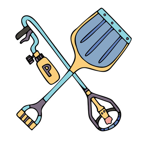 Crossed de-icing torch and shovel. Fine for ice and snow removal services promotion, articles abot de-icing equipment and snow clearing work.