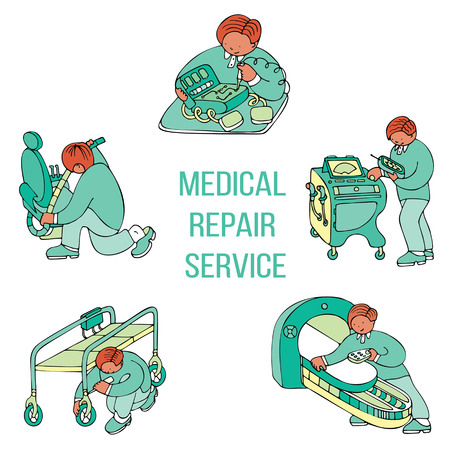 Medical repair service with various types of work from cosmetical to electronical repair. Fine for medical services promo brochures, sites offering medical equipment repair, calibration, installation and maintenance.