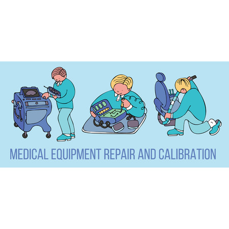 Medical equipment repair and calibration banner with text. Fine for medical services promo brochures, sites offering medical equipment repair, calibration, installation and maintenance. Illustration
