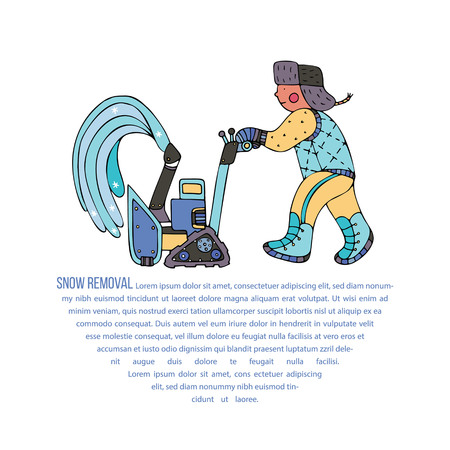 A man clearing the snow with a blower. Fine for ice and snow removal services promotion, articles abot de-icing equipment and snow clearing work.