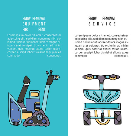 Brochure Snow removal equipment for rent with snowblower and salt spreader. Fine for ice and snow removal services promotion, articles abot de-icing equipment and snow clearing work.