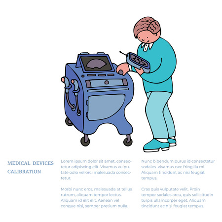 An engineer repairing medical equipment, a picture with a text example. Fine for medical services promo brochures, sites offering medical equipment repair, calibration, installation and maintenance.