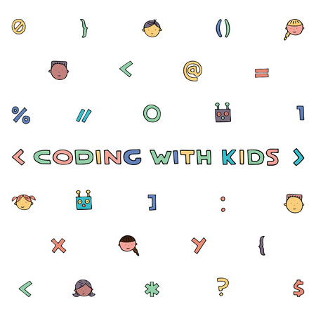 Children coding illustration. Coding for kids articles and sites. Programming education.