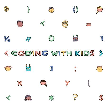 Illustration de codage pour enfants. Codage d'articles et de sites pour enfants. Enseignement de la programmation. Vecteurs