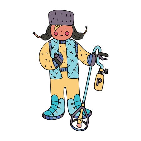 A man removing the ice with a propane torch. Fine for ice and snow removal services promotion, articles abot de-icing equipment and snow clearing work. Illustration
