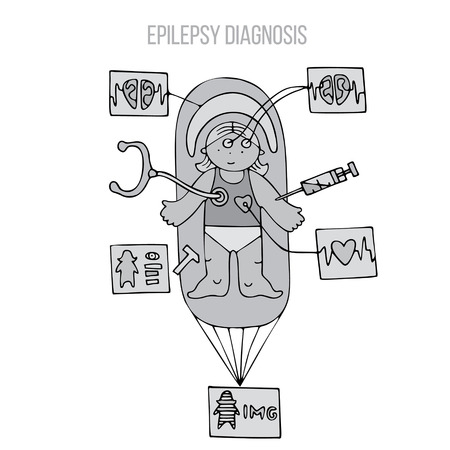 A girl undergoing epilepsy diagnosis with various medical procedures (blood test, meg, ecg, imaging, neurological and physical examination). Fine for medical infobrochures for kids and teenagers, public sites about epilepsy and medical checks, banners for sites about epilepsy. Illustration