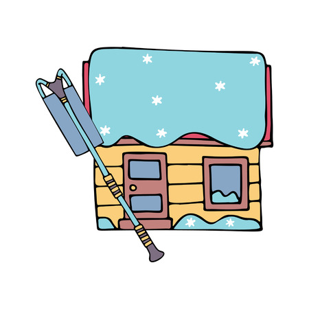 A picture of a house with snow on the roof and a roof rake in doodle style. colored. Fine for ice and snow removal services promotion, articles abot de-icing equipment and snow clearing work. Illustration