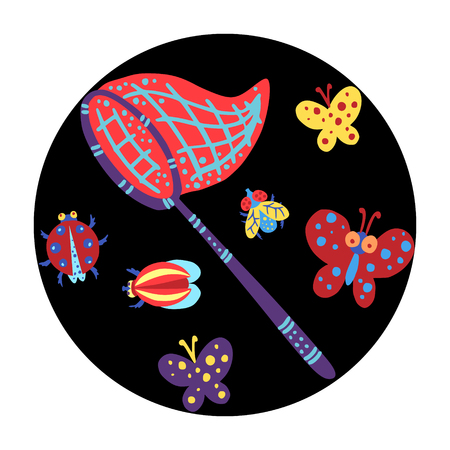 Colorful insects against the black background. Vektorové ilustrace