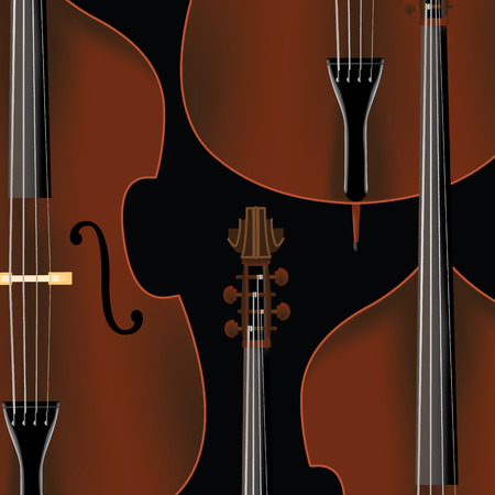 Double bass background with basses in realistic style. Illustration