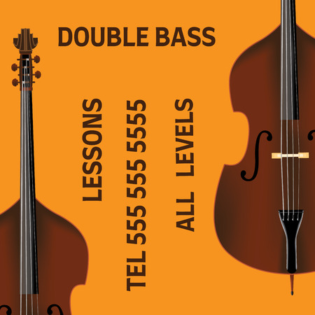 Double bass lessons brochure with bass in realistic style. Ready design.
